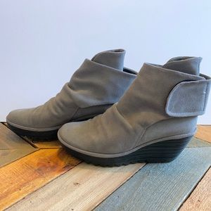 Fly London Gray Suede Booties Wedge Heels Size 9.5
